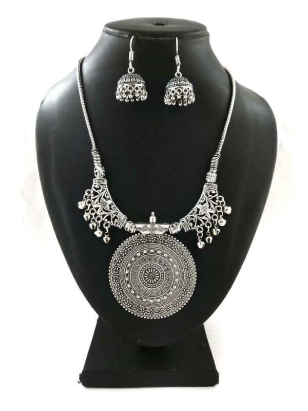 Indian Silver Plated Oxidized Chain Necklace with Matching earrings RNDBIG- PN1