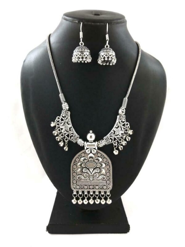 Indian Silver Plated Oxidized Chain Necklace with Matching earrings RETANG- PN1