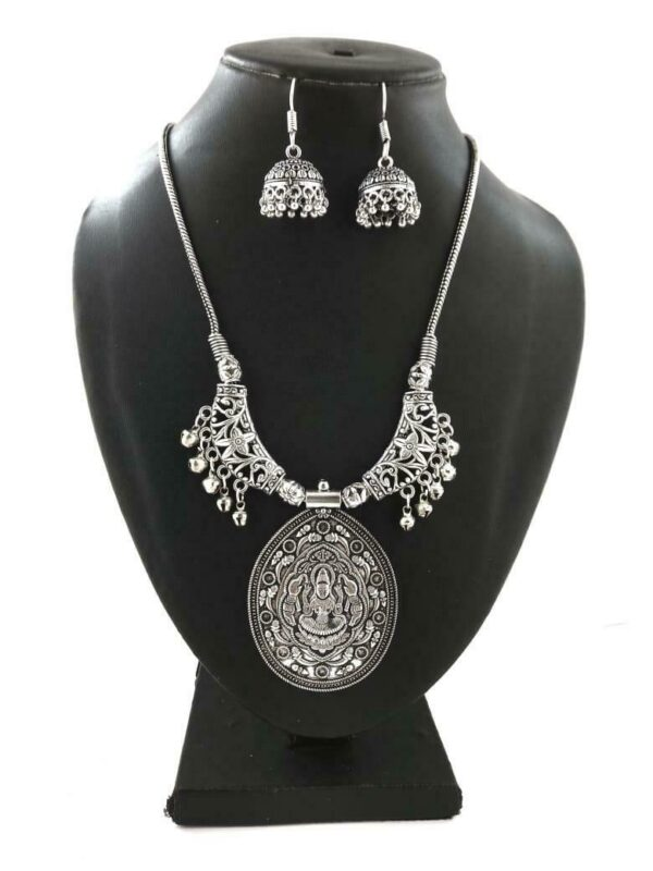 Indian Silver Plated Oxidized Chain Necklace with Matching earrings DURGAMA- PN1