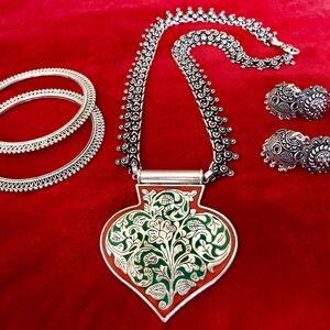 gypsy turkish tribal bohemian necklace earring bangle jewlery set