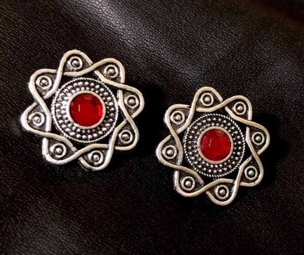 Indian Kashmir Oxidized Stud Earrings Mughal German silver Plated Bollywood - R1