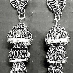 Indian Jhumki Mugal Jhumka Silver Plated Earrings Oxidized Bollywood Traditional