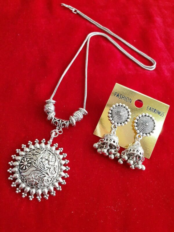 Afghani Indian Tribal Necklace Set With Earrings Silver Oxidized Set Jewelry