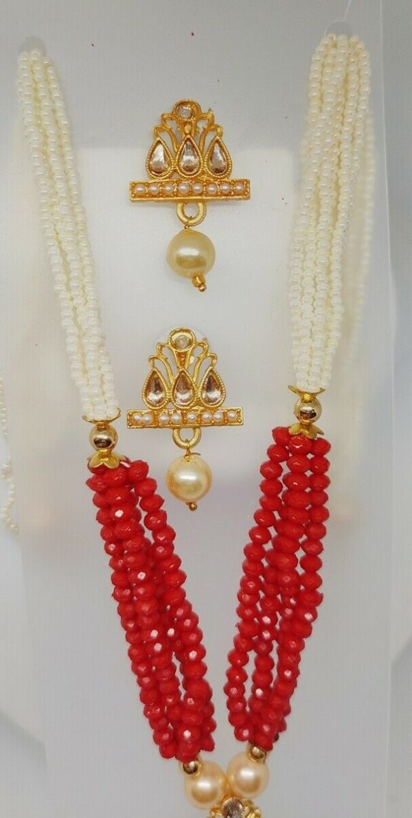 Multi Color Indian Long Necklace Set Gold Plated Bridal Pearl Mala Set - D13