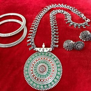 Red & Green bohemian earring With bangle Turkish gypsy necklace Set tribal je...