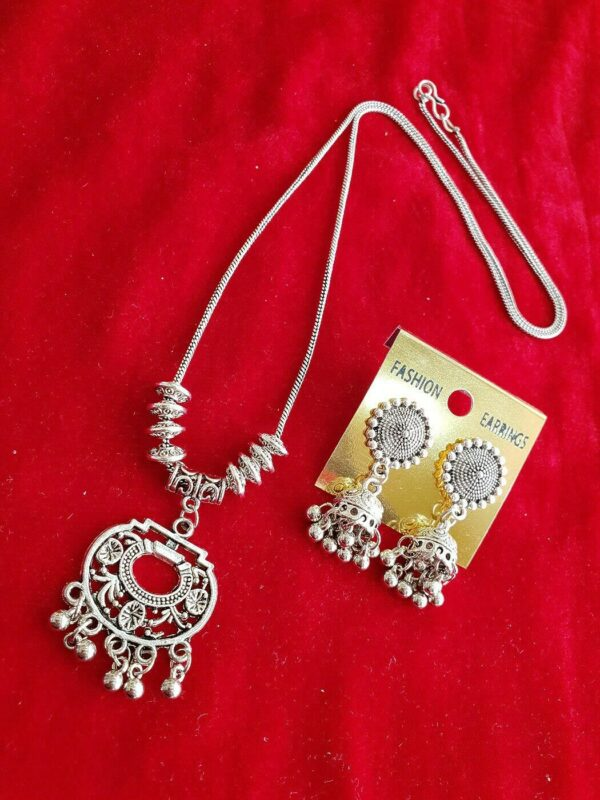 Indian Tribal Light Weight Afghani Necklace Set Earrings Silver Oxidized Jewelry