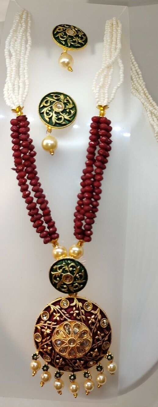 Multi Color Indian Long Necklace Set Gold Plated Bridal Pearl Mala Set - D2