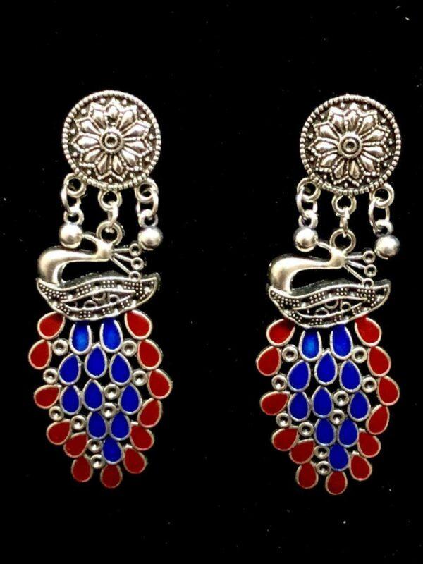 Indian Colorful Peacock Bollywood Silver Oxidized Mugal Jhumka Jhumki Earrings