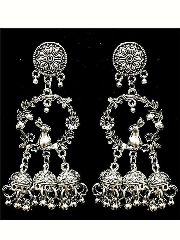 Rabbit Silver Oxidized Mugal Jhumka Triple Layer Jhumki Earrings Gift For Her