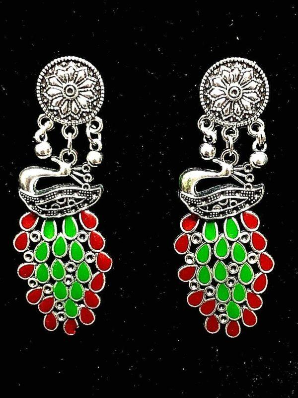 Indian Traditional Bollywood Tribal Silver Oxidized Mugal Jhumki Earrings