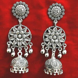 Handmade Ethnic Oxidized Indian Metal Plated Leaf Jhumka Style Earring Best Gift