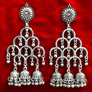 Indian Earrings Jewellery Silver Plated Jhumka Jhumki Dangle Pakistani oxidize