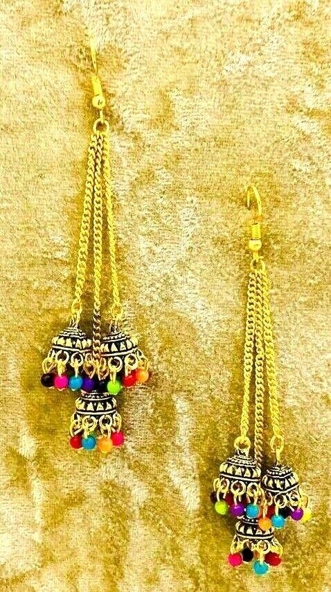 Drop/Dangle Traditional Bollywood Oxidized Mugal Jhumka Jhumki Earrings Afgani