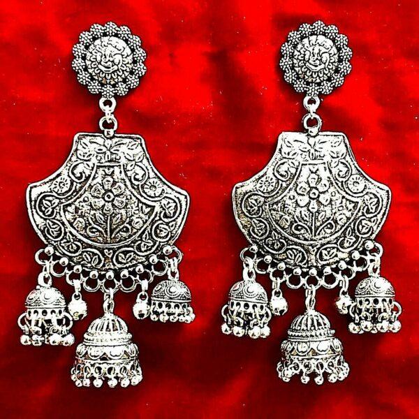 Gift Indian Traditional Bollywood Silver Oxidized Mugal Jhumki Earrings Jhumka