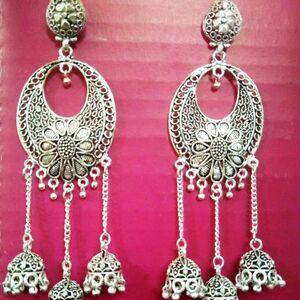 Indian Tribal Aggani Bohemian Jhumki Mugal Jhumka Oxidized Earrings