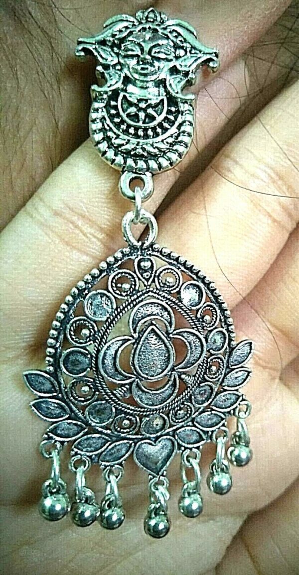 Maa Durga Indian Earrings Kashmir silver Plated Oxidized Mughal Jhumka Bollywood
