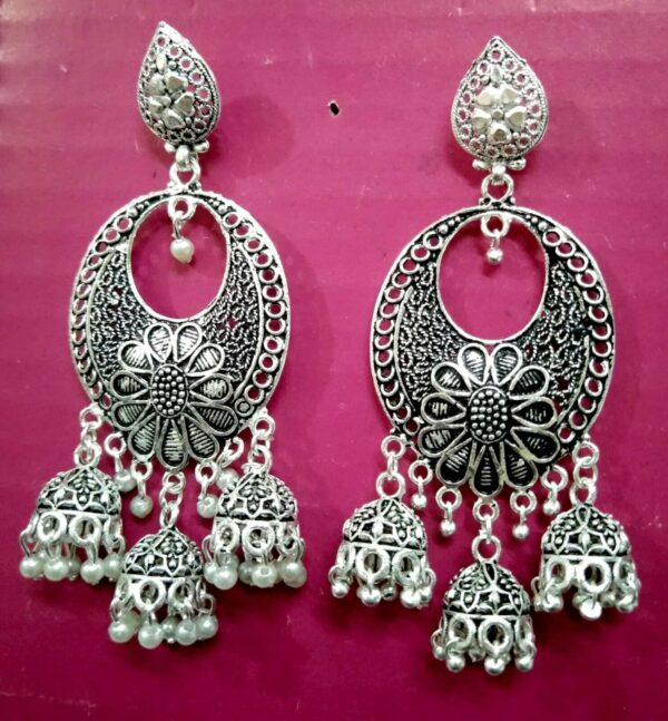Oxidized Silver Plated Handmade Big Jhumka Jhumki Earrings Jewelry women