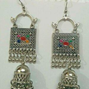 Indo Afghani Tribal Jewelry Silver Plated Oxidized Earrings Kashmiri Jewelry