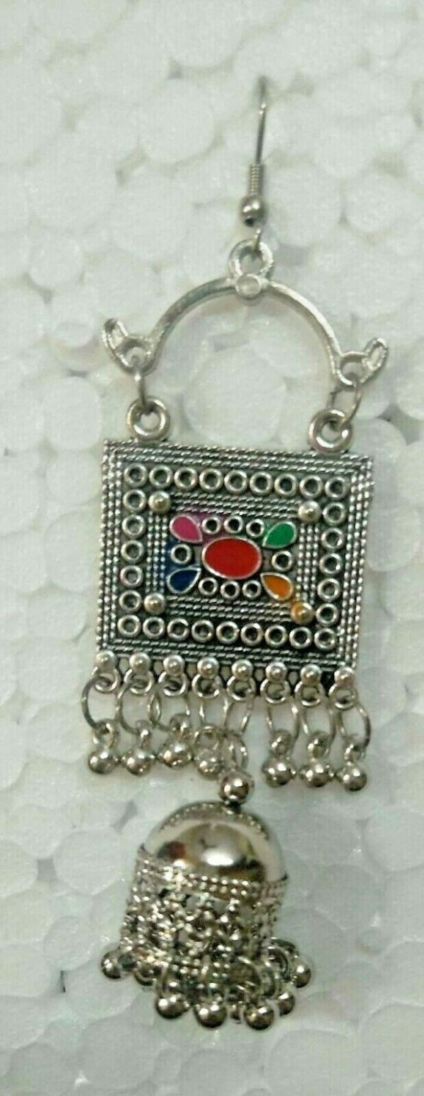 Indo Afghani Tribal Jewelry Silver Plated Oxidized Earrings Kashmiri Jewelry