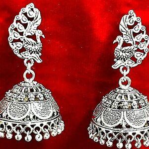 Fancy Style Oxidized Silver Plating Over Brass Fashion Drop Dangle Earrings