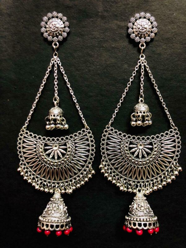 Oxidized Silver Plated Red Beads Ethnic Long Earrings Indian Style Handmade