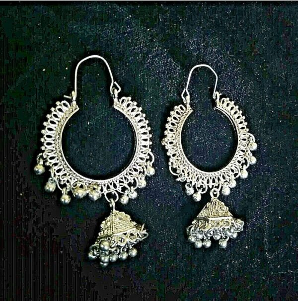 Antique Indian Earrings Kashmir Oxidized Mughal Jhumka Silver Plated Bollywood