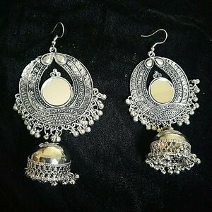 Antique Indian Kashmir Silver Plated Oxidized Earrings Mughal Jhumka Bollywood