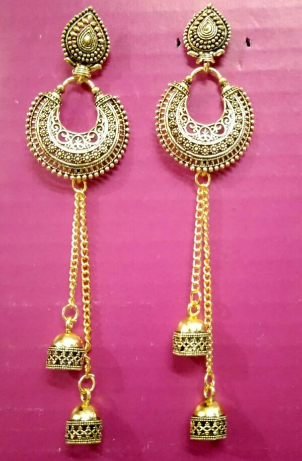 Traditional Retro Oxidized Silver Jhumka Earrings Indian Bollywood Jewelry Gifts