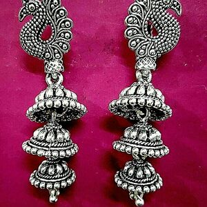 Peacock Light Weight Long Silver Oxidized Mugal Jhumka Jhumki Earring Party Wear