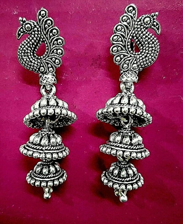 Peacock Light Weight Long Silver Oxidized Mugal Jhumka Jhumki Earring Party Wear