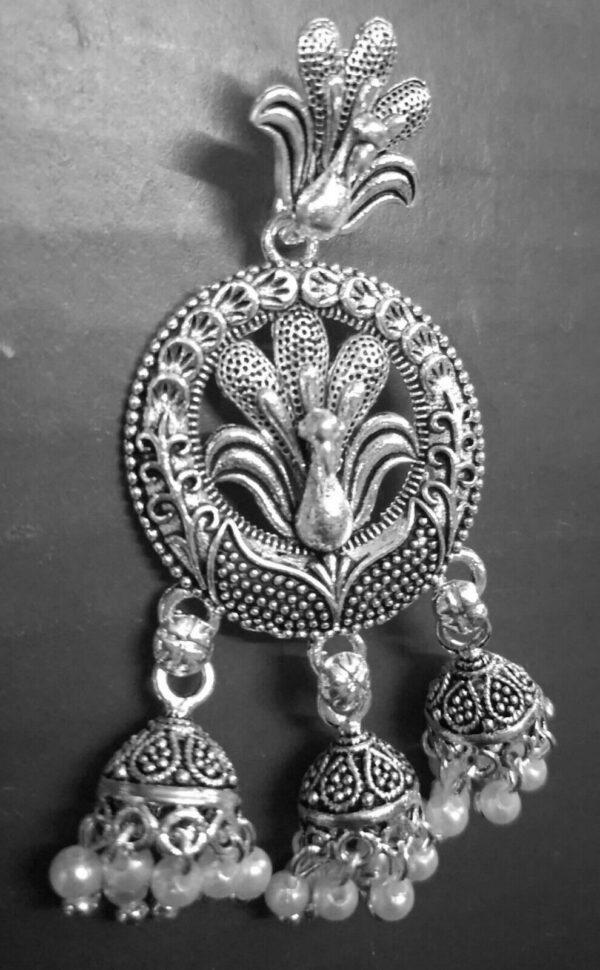 Bollywood Traditional Kashmiri Indian Jhumki Mugal Silver Plated Earrings