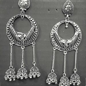 Silver Oxidized Traditional Fashion Earrings Jhumkas Jewellery-Ideal Gift Silver