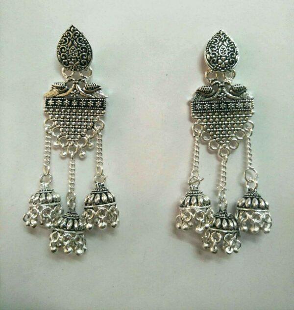 Indian chandbali Bollywood Silver Oxidized Mugal Jhumka Jhumki Earrings Vintage
