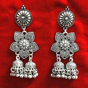 Indian Afgani Traditional Bollywood Silver Oxidized Mugal Jhumka Jhumki Earrings