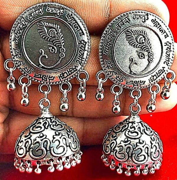 Indian Tribal Bollywood Silver Oxidized Mugal Jhumka Jhumki Earrings Afghani
