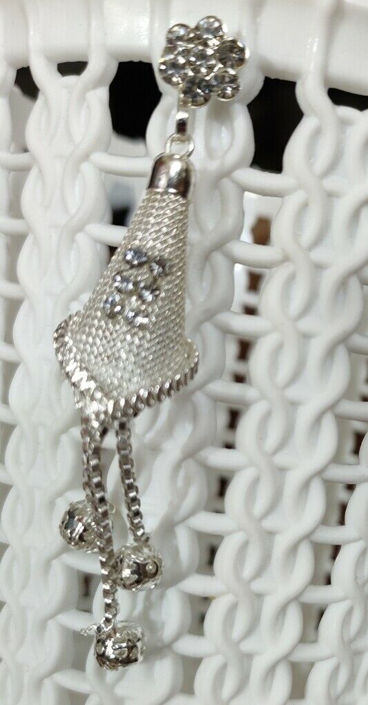 1 Pair Women Lady Jewelry Silver Beaded Rhinestone Crystal Stud Earrings
