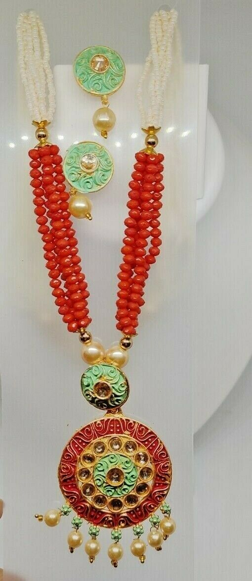 Green Indian Long Necklace Set Gold Plated Bridal Pearl Mala Set Multi - D18