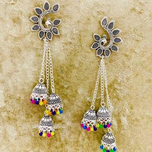 Traditional Bollywood Silver Oxidised Mugal Jhumka Jhumki Earring Afghan Jewelry
