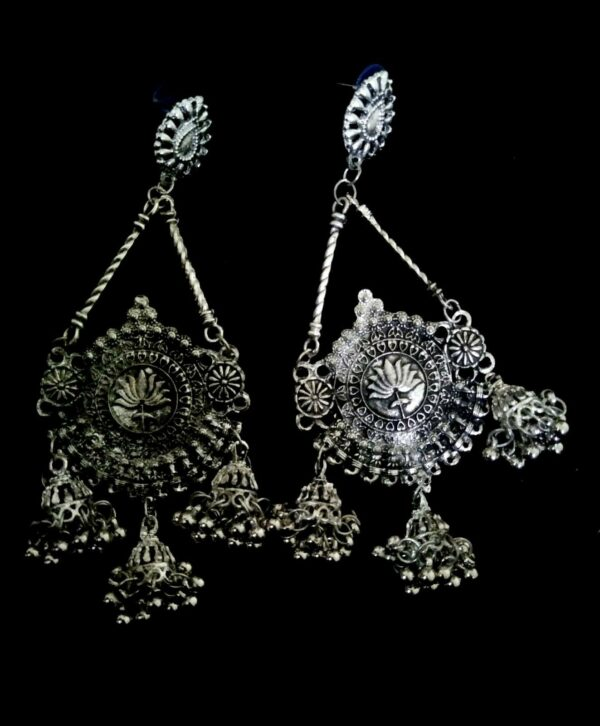 oxidized Indian Bollywood Gold Silver Plated Earring Jumka Jumki Long Drop