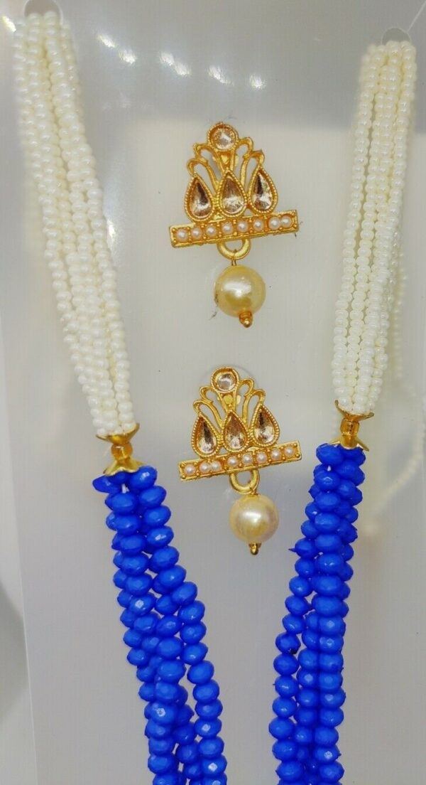 Multi Color Indian Long Necklace Set Gold Plated Bridal Pearl Mala Set - D10