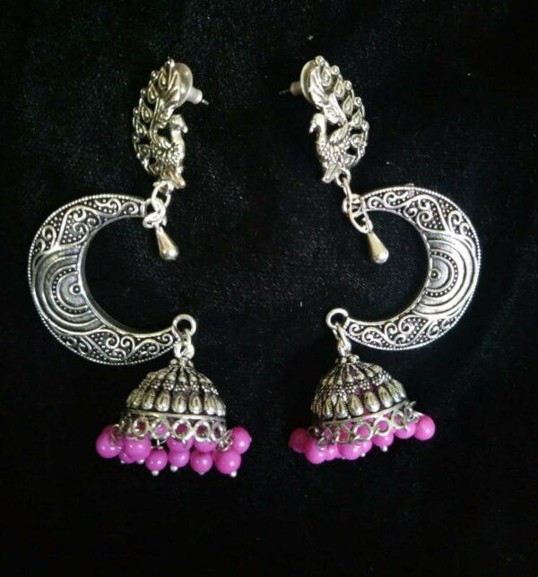 Bollywood Indian Kashmir silver Plated Oxidized Mughal Tribal Jhumka Earring D1