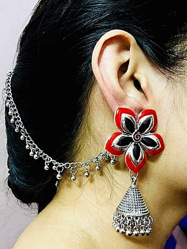 Long Ear Chain Meenakari Work Red Black Rajasthani Silver Oxidized Drop Earrings