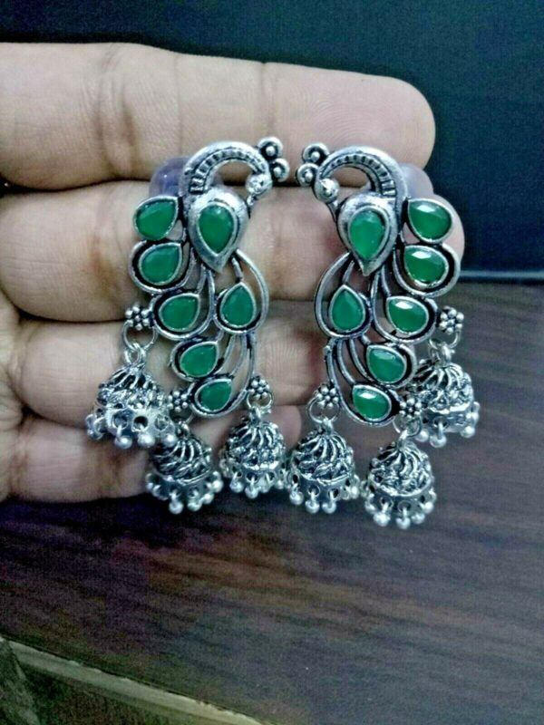Traditional Bollywood Silver Plated Oxidized Jhumki Earrings Peacock Green Stone