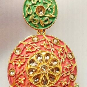 Red Green Pink Indian Long Necklace Set Gold Plated Bridal Pearl Mala Set