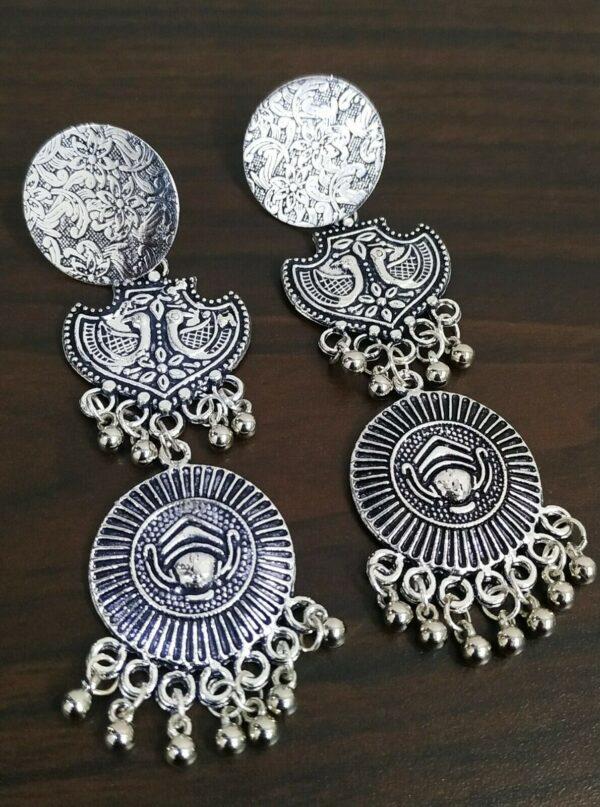 Traditional Bollywood Silver Plated Oxidized Maa Durga Peacock Jhumki Earrings
