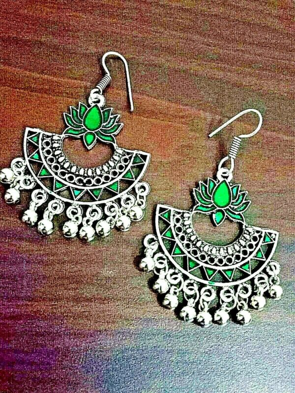 Green Lotus Panted Bollywood Silver Plated Oxidized Jhumki Earring Drop / Dongle