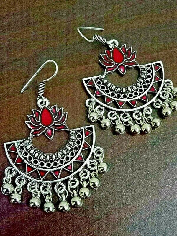 Red Hook Lotus Silver Plated Oxidized Jhumki Earrings Drop / Dongle Party Wear