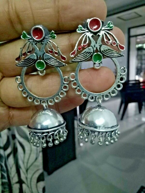 Traditional Bollywood Silver Plated Oxidized Earrings Green Red Peacock Jhumki