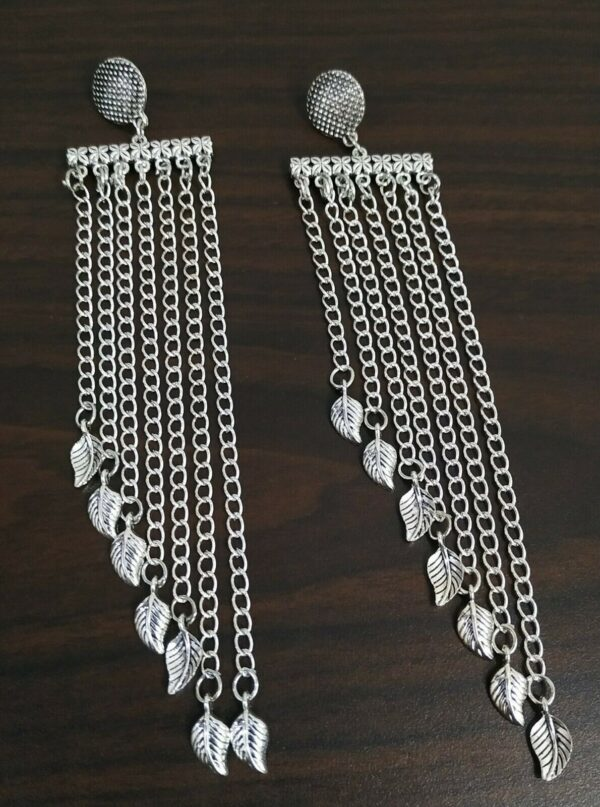 Traditional Bollywood Silver Plated Oxidized Jhumki Earrings Long Flower Leaf