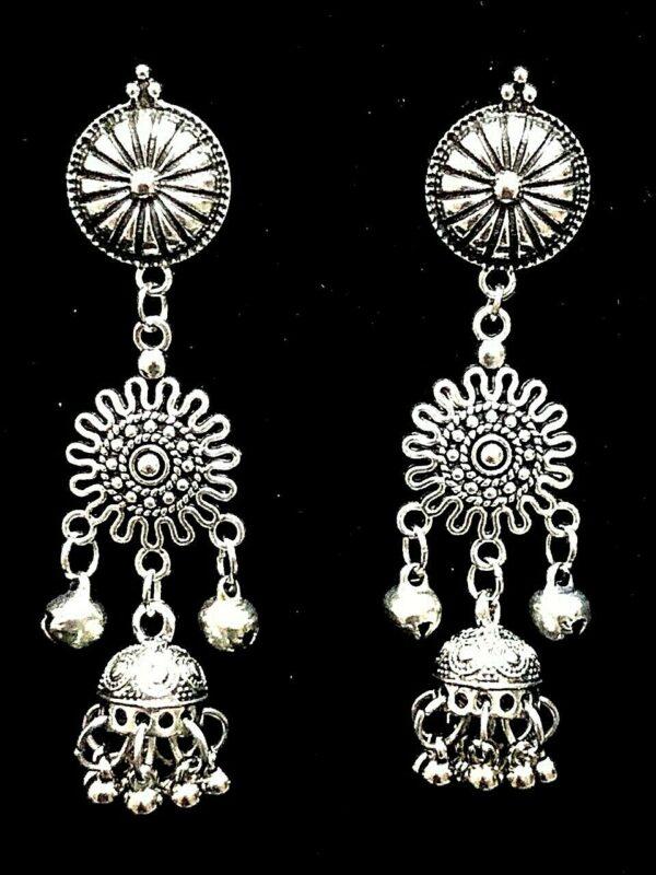Mugal Jhumka Jhumki Earring Indian Kashmiri Traditional Bollywod Silver Oxidized
